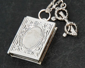 The Reader's Necklace - teacher necklace, librarian necklace, student necklace, photo locket keepsake (R2D1)