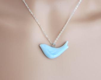 Colorful Bird Ceramic Necklace - Blue bird necklace, canary necklace, sparrow necklace, robin necklace  (R3A)