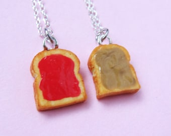 Miniature Peanut Butter and Jelly Best Friend Couples Necklaces - Set of 2 - Peanut Butter & Strawberry Jelly