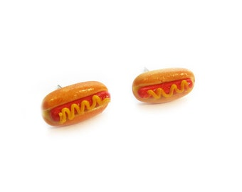 Hot Dog Stud Earrings - handmade pastry miniature