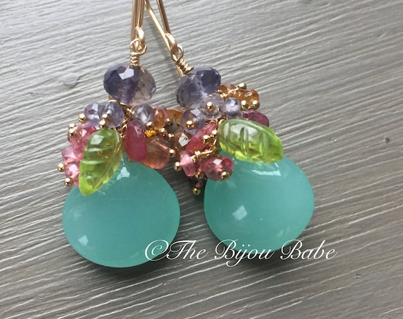 Aqua Chalcedony Cluster Earrings