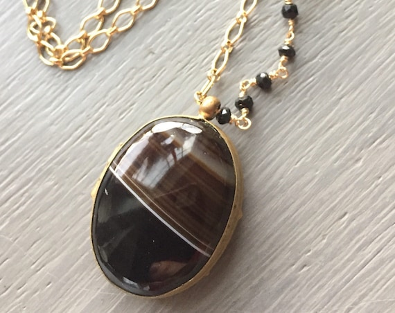 Antique Banded Agate Locket