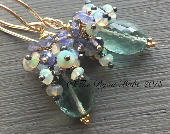 Fluorite Cluster Earrings