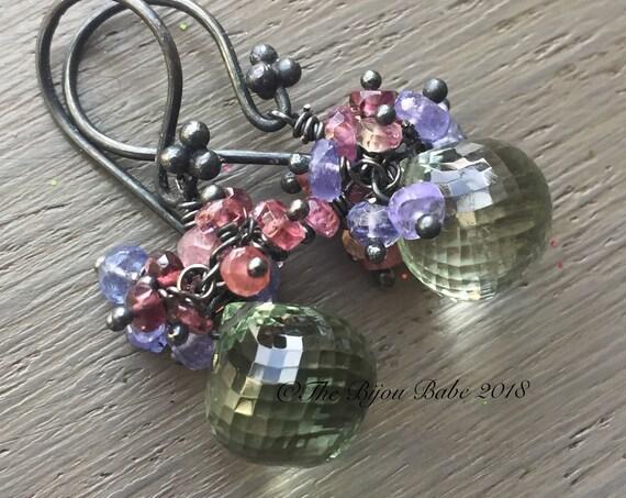 Green Amethyst Cluster Earrings