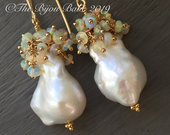 Baroque Pearl and Opal Earrings