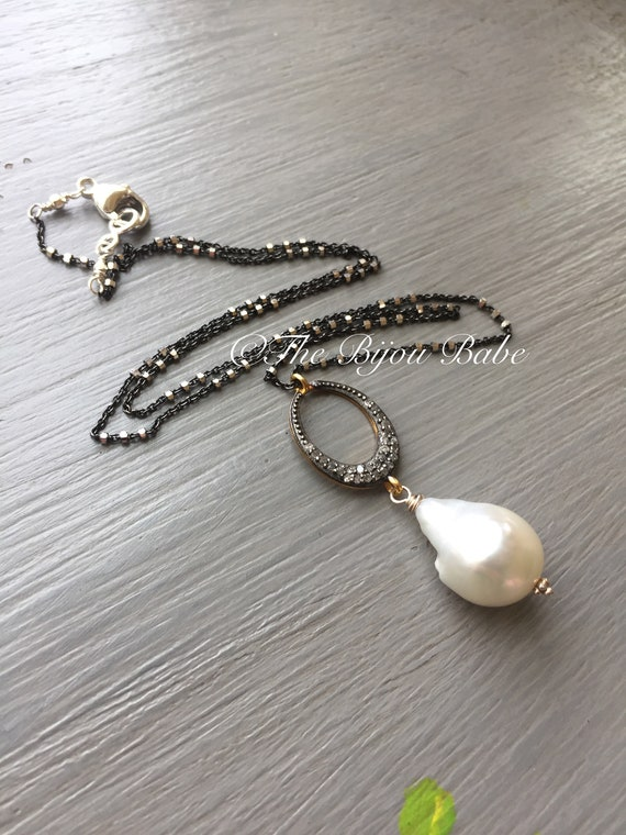 Baroque Pearl and Pave Diamond Pendant