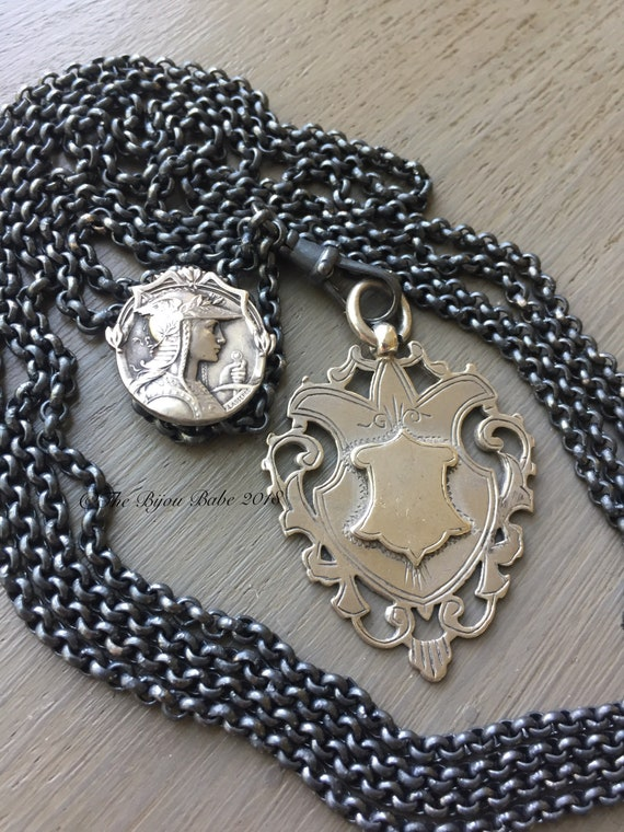 Antique Shield Fob Necklace