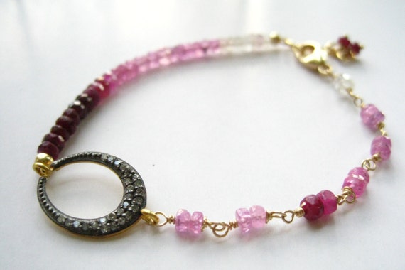 Ombre Ruby and Pave Diamond Boho Chic Bracelet Stack bracelet Layering Bracelet Delicate Precious Gemstone Minimalist Bracelet