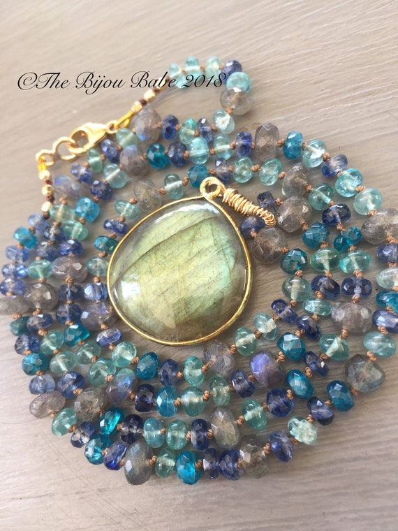 Labradorite Bezel Silk Necklace