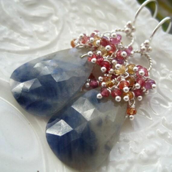 Rose Cut Sapphire Earrings