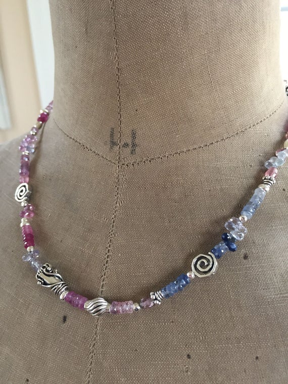 Sapphire Layering Necklace Boho Luxe Sapphire Necklace Boho Chic Jewelry