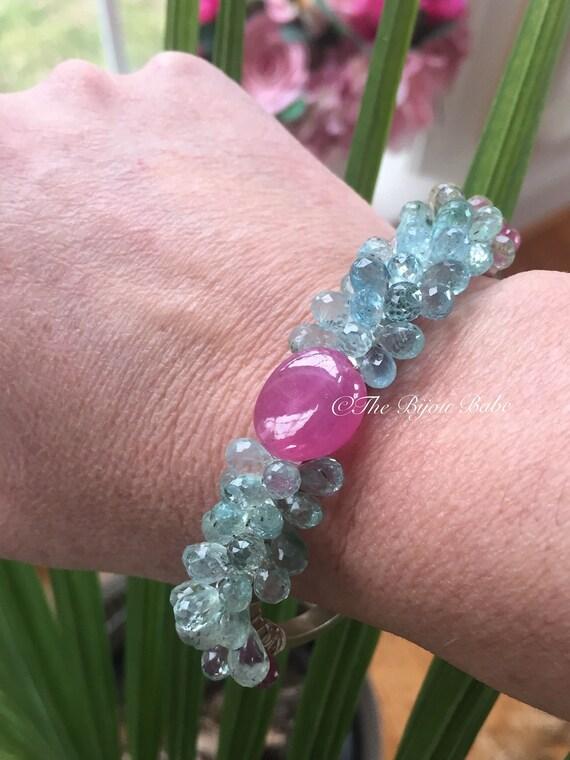 Aquamarine Cuff bracelet Gemstone Cuff