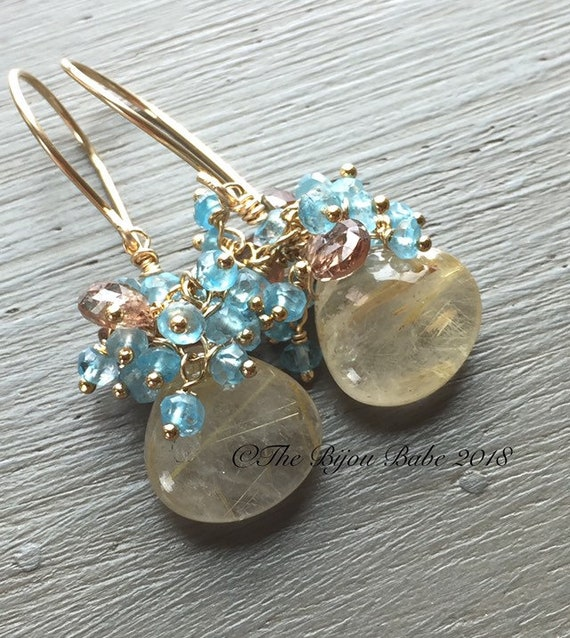 Golden Rutilated Quartz Cluster Earrings