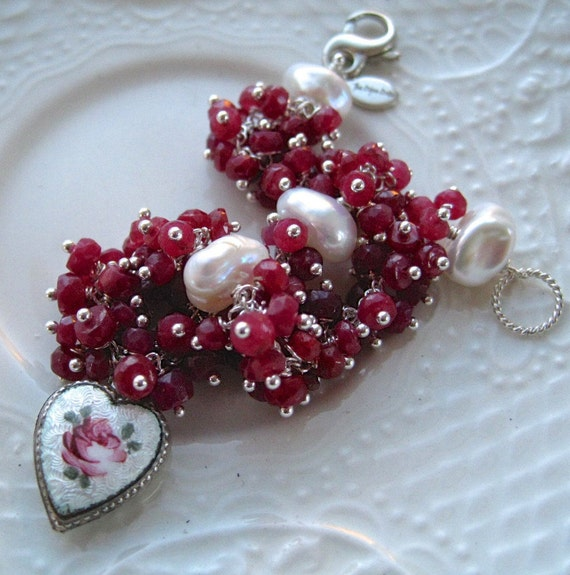 "Vintage Guilloche Heart Charm and Ruby Bracelet-Vintage charm and gemstone bracelet-""Follow Your Heart"""