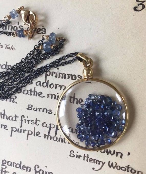 Shake Locket Sapphire Locket  Antique Glass Locket