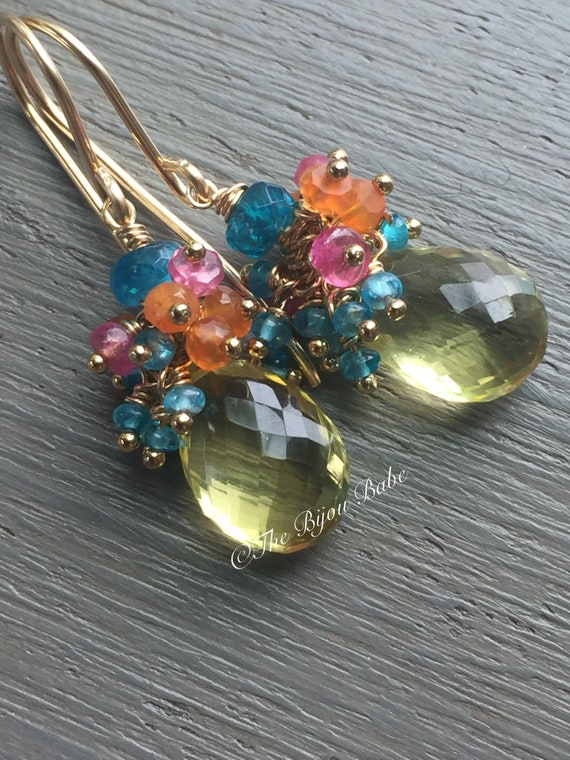 Lemon Quartz Cluster Earrings