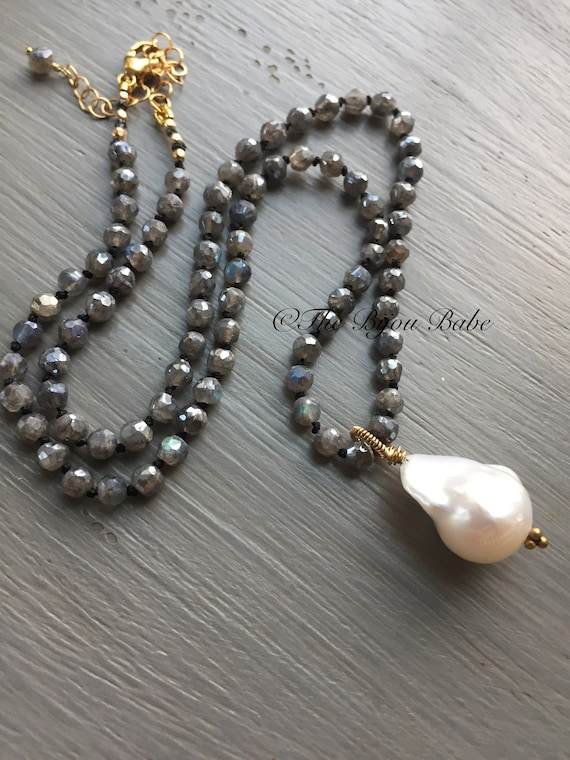 Baroque Pearl Pendant Hand knotted silk necklace Labradorite necklace