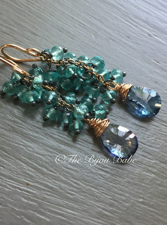 Mystic Blue Topaz Tassel Earrings