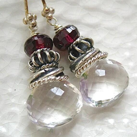 Crystal Quartz, Garnet, Sterling Silve Earrings-Iced Berries