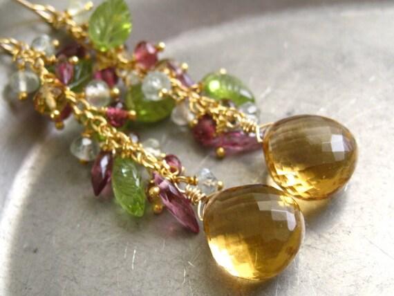 Multi Gemstone Tassel Earrings