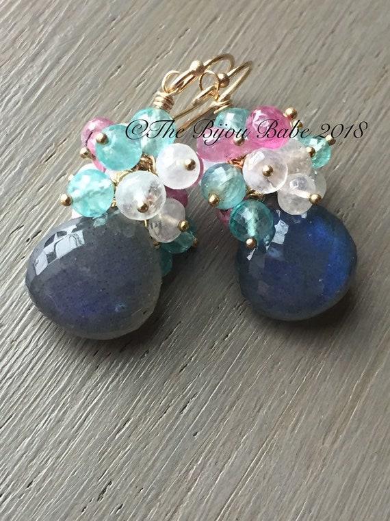 Labradorite Cluster Earrings