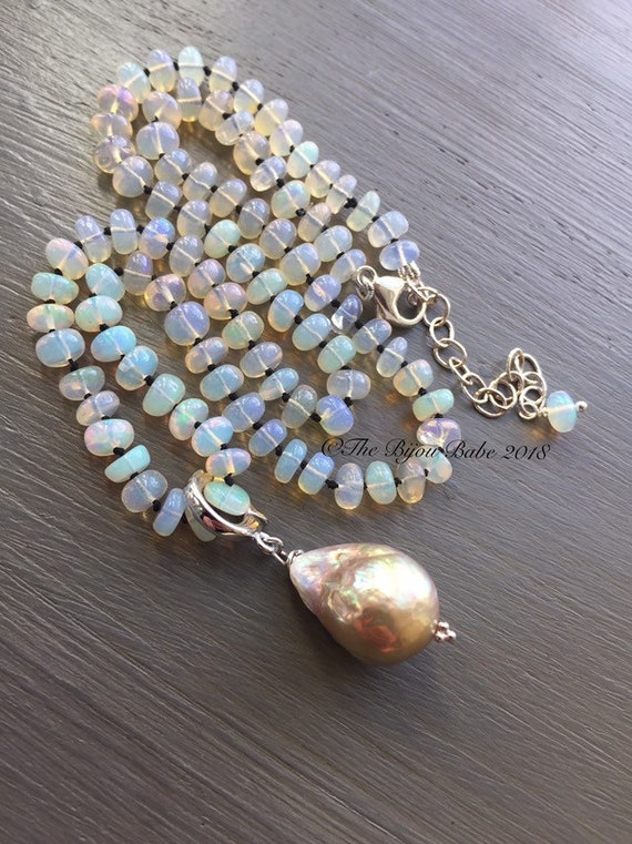 Opal Necklace Baroque Pearl Pendant