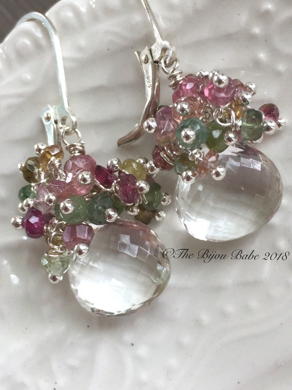 Crystal Quartz Cluster Earrinngs