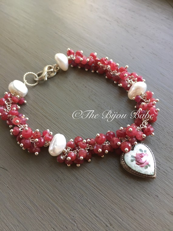 Vintage Guilloche Heart Charm and Ruby Bracelet