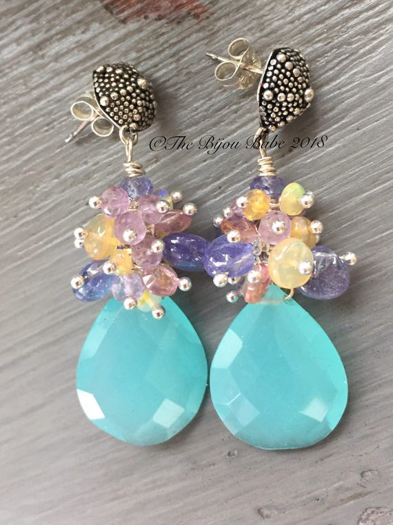 Aqua Chalcedony Gemstone Earrings