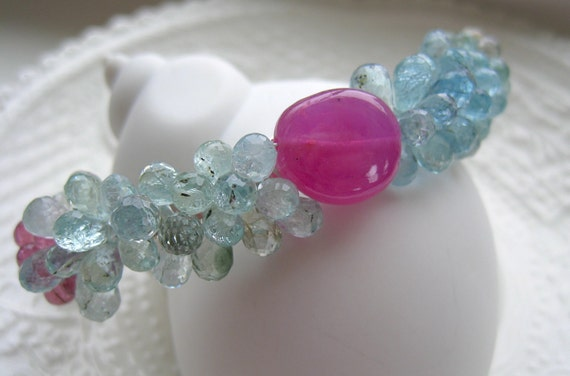 "Aquamarine Cuff bracelet-Gemstone Cuff-""Robin's Egg"""