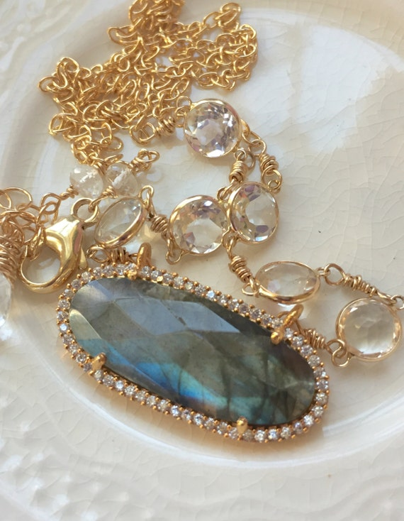 Labradorite Bezel Necklace