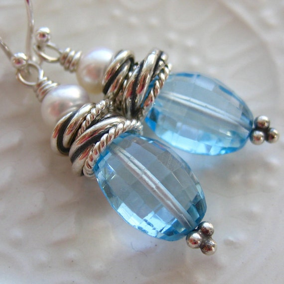 Blue Topaz and Pearl Earring - Something Blue - Wedding Jewelry-