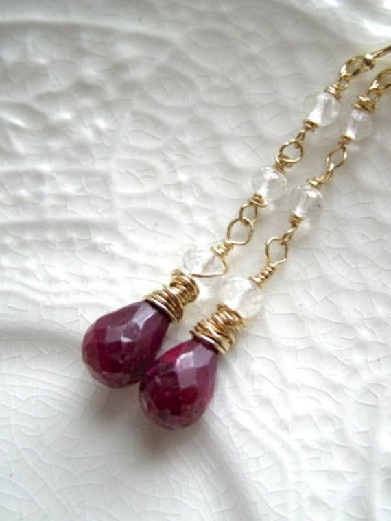 Ruby Earrings-Linear Ruby Earrings-Linear Gemstone Earrings