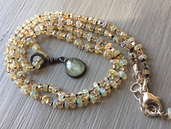 Opal Necklace Hand Knotted Silk and Baroque Pearl October Birthstone Jewelry Opal and Silk Necklace