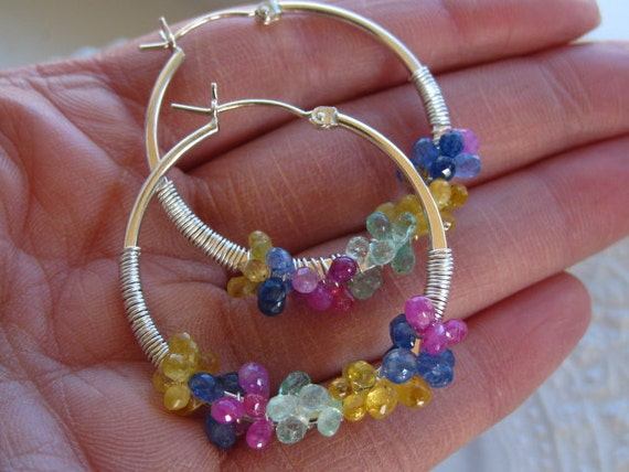 Sapphire Hoop Earrings Gemstone Encrusted Hoops Wire Wrapped Gemstone Hoops Multi sapphire Hoops