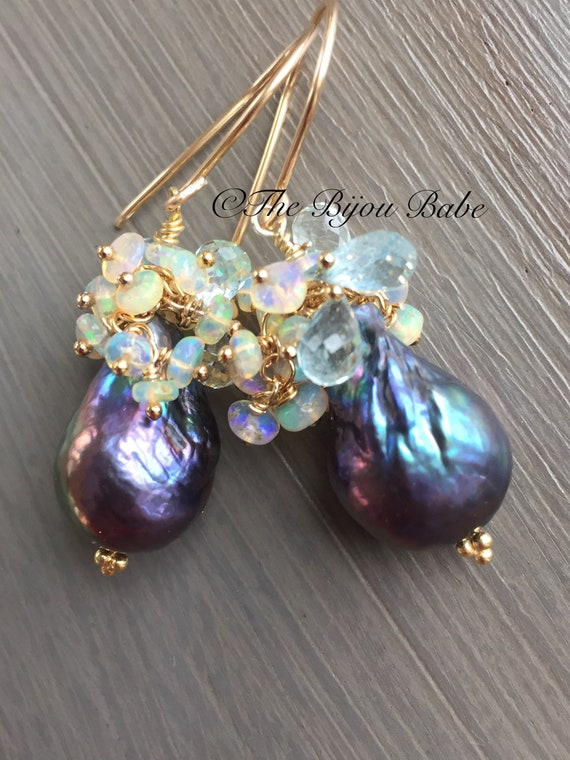 Peacock Pearl Cluster Earrings Made to Order