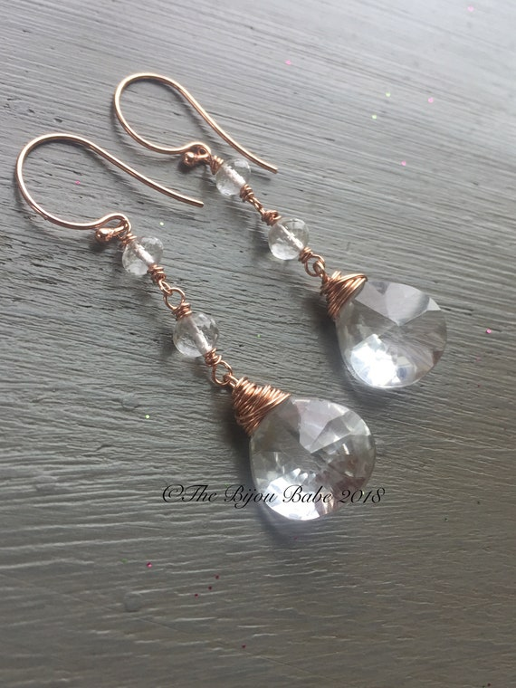 Crystal Quartz Linear Earrings