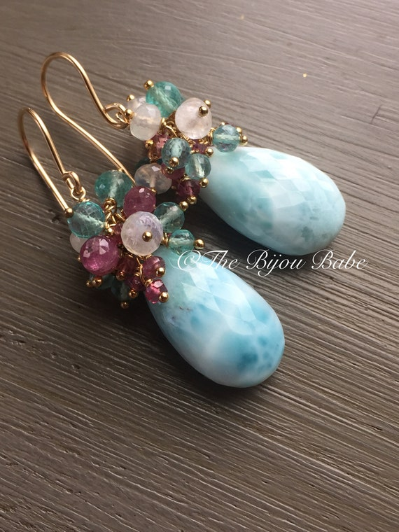 Larimar Cluster Earrings