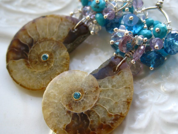 Ammonite Fossil  Earrings Opal, Blue Topaz Sleeping Beauty Turquoise