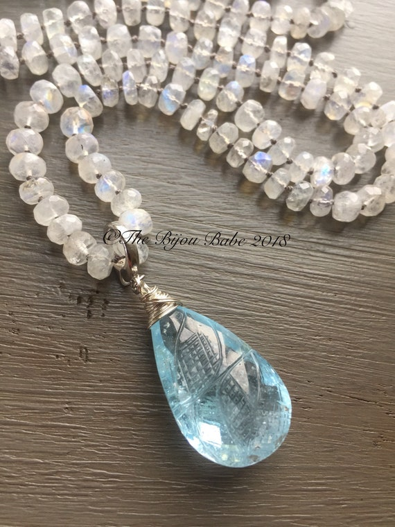 Blue Topaz Pendant hand knotted silk necklace Statement Blue Topaz Pendant Moonstone Silk Necklace Boho Luxury Necklace
