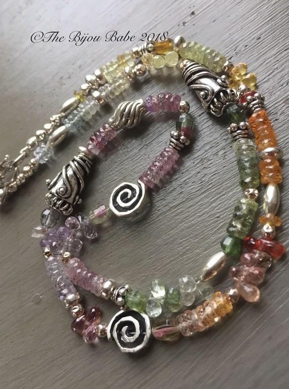 Multi Sapphire Boho Necklace