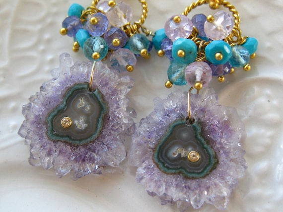 Stalactite Earrings Amethyst Stalactite Earrings Nature Inspired Jewels