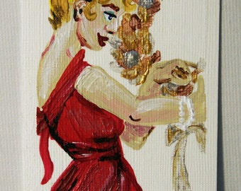 Decking the Halls - ACEO - Original Acrylic Painting on Canvas Art Card