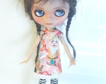 "Handmade Tricot Dress ""Dwarf"" for Blythe 1/6"