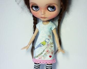 "Handmade  Romantic  Light Bleu Shabby Chique Tricot Dress ""Bird"" for Blythe 1/6"