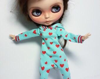 "Handmade Bleu Tricot Onesie ""Hearts"" for Blythe 1/6"