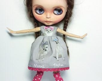 "Handmade  Grey Cotton Summer Dress ""Dogs"" 1/6 for Blythe Doll"