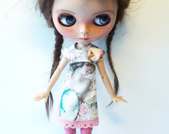 """Handmade  Romantic  Creme Shabby Chique Tricot Dress """"Lady"""" for Blythe 1/6"""