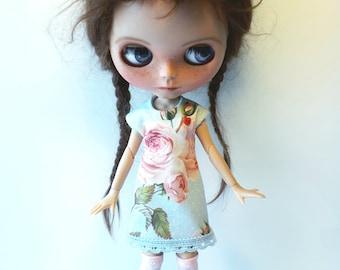 """Handmade  Romantic  Light Bleu Shabby Chique Tricot Dress """"Roses"""" for Blythe 1/6"""