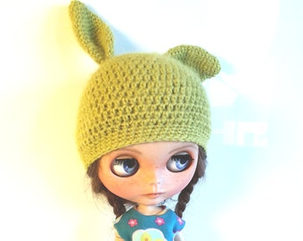Green Bunny Hat for Blythe Doll